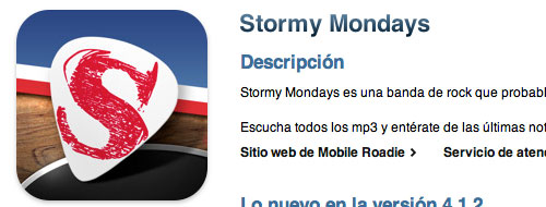 Aplicación de Stormy Mondays en iTunes Store